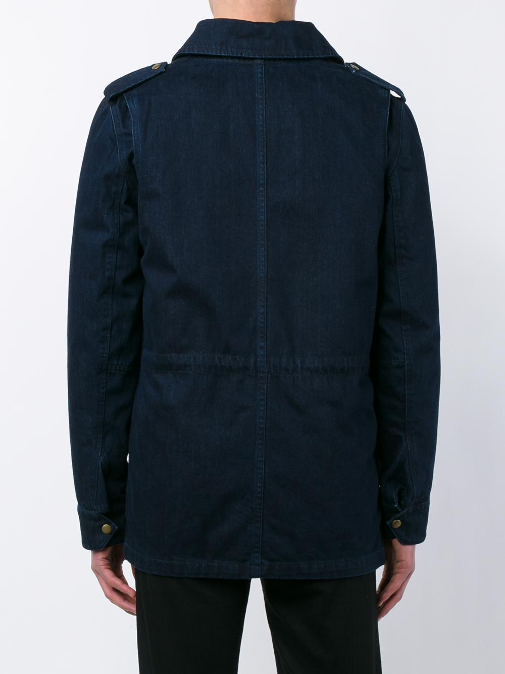 Yves Salomon Rabbit Fur Lined Denim Jacket in Blue for Men