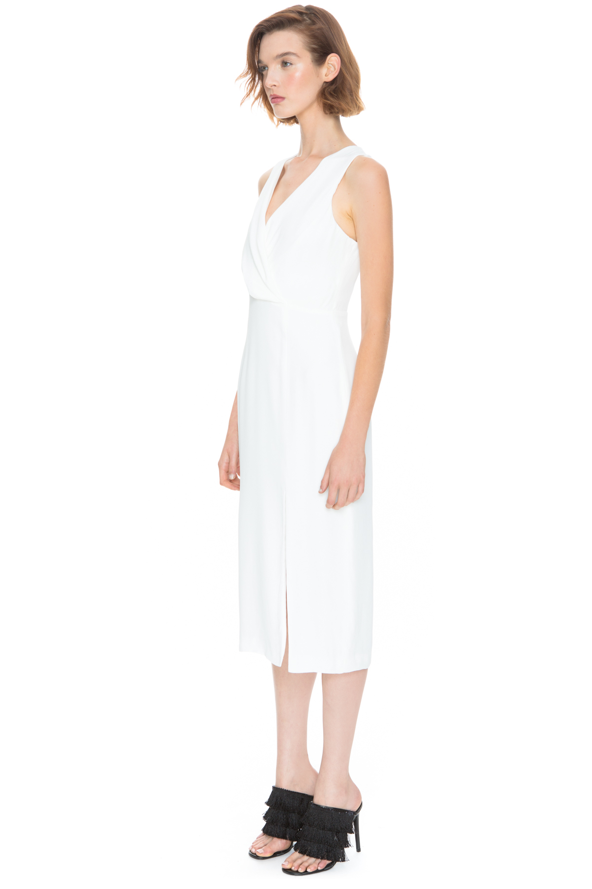 c meo collective bedroom wall short sleeve dress in white