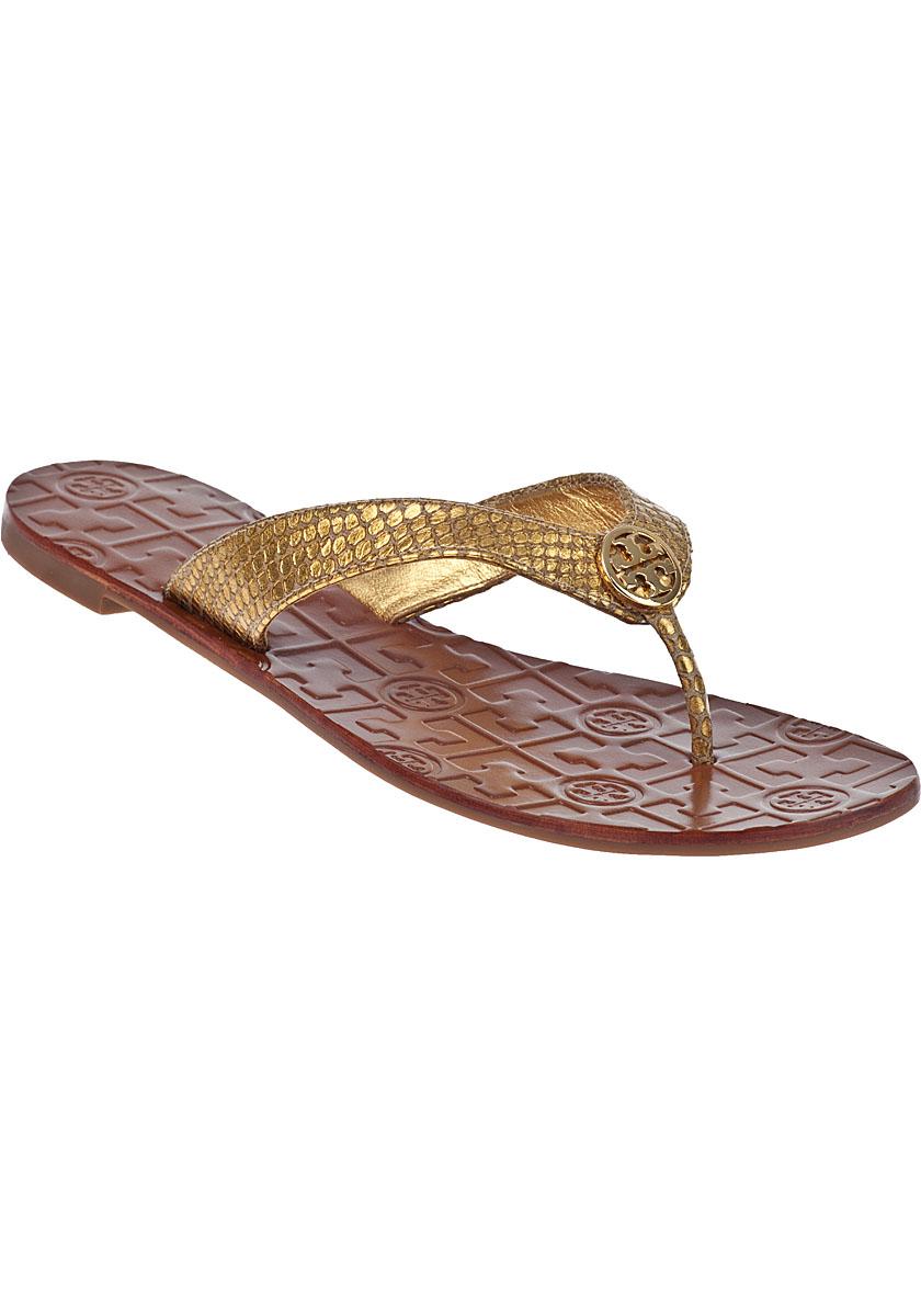 033317637c92 Lyst - Tory Burch Thora-2 Flip Flop Gold Snake in Metallic
