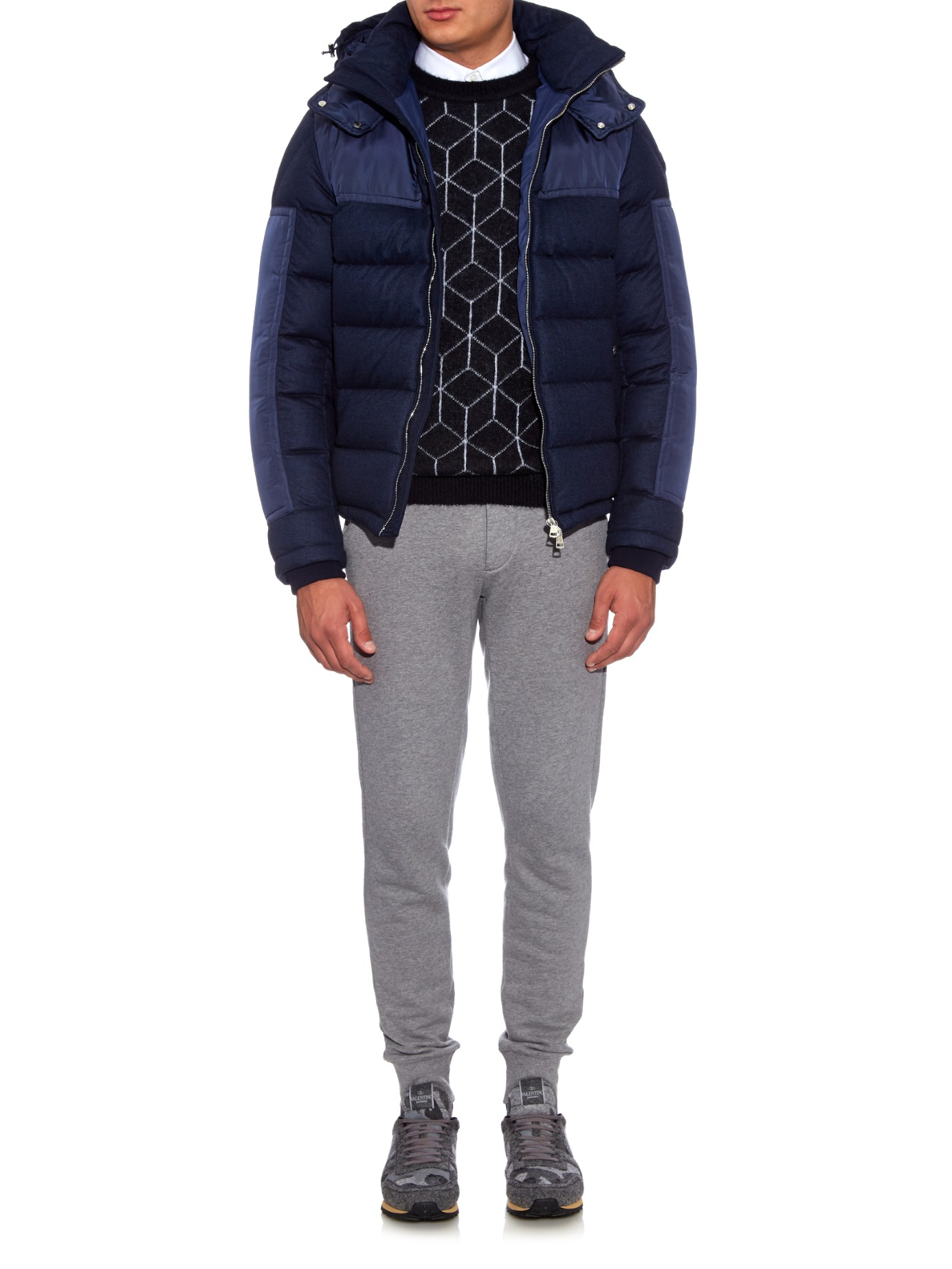 Lyst Moncler Severac Panelled Wool Flanel Coat In Blue For Men Navy Gallery