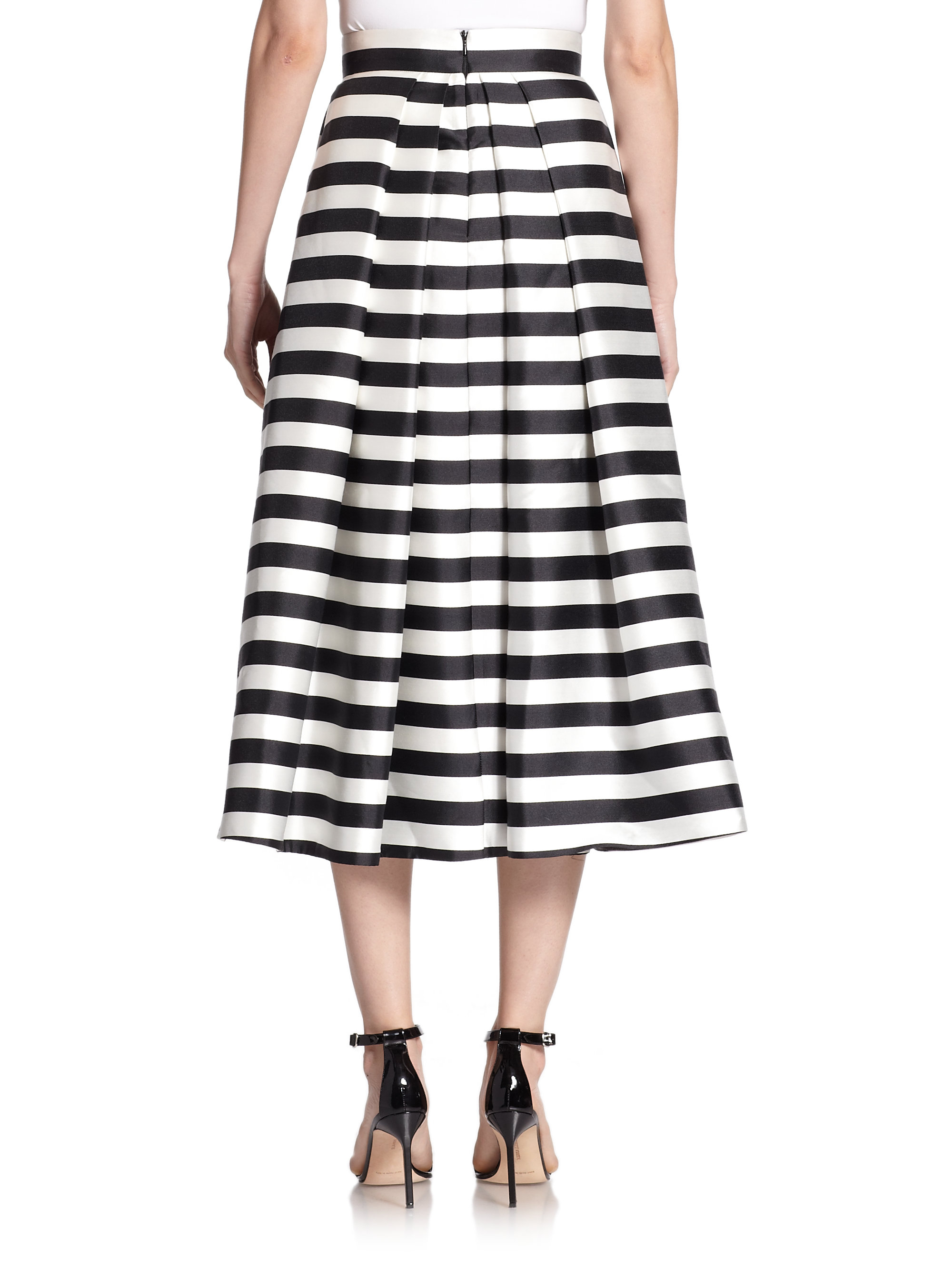 Nicholas Striped Midi Skirt in Black | Lyst