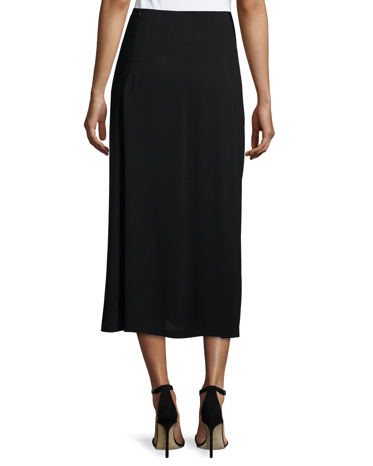 eileen fisher pleated silk georgette skirt in
