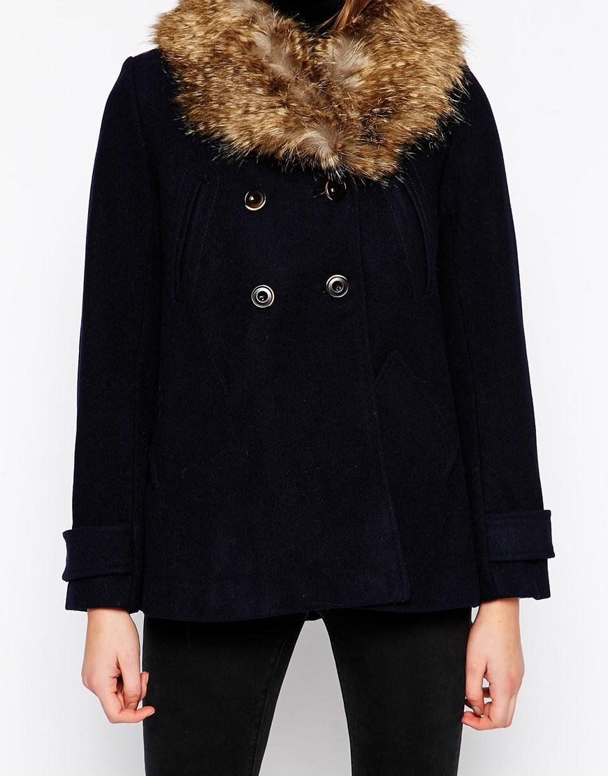 Parka london Short Swing Coat With Detachable Faux Fur Hood in ...