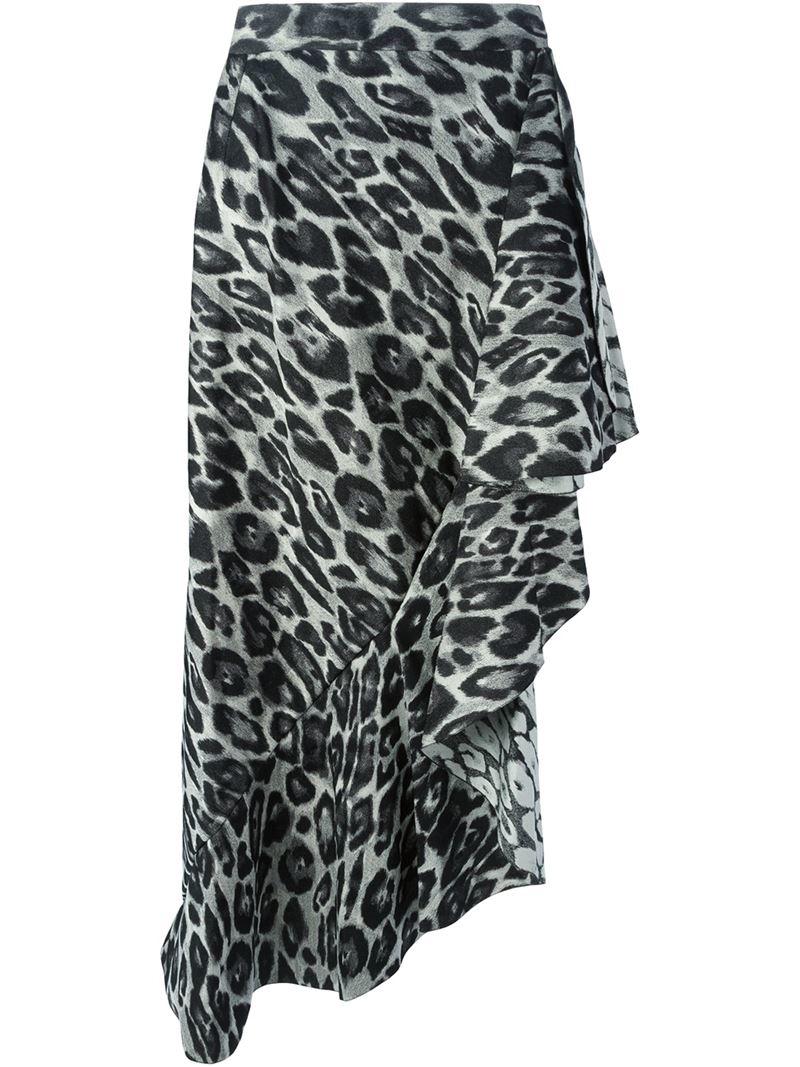 lanvin leopard print maxi skirt in gray lyst