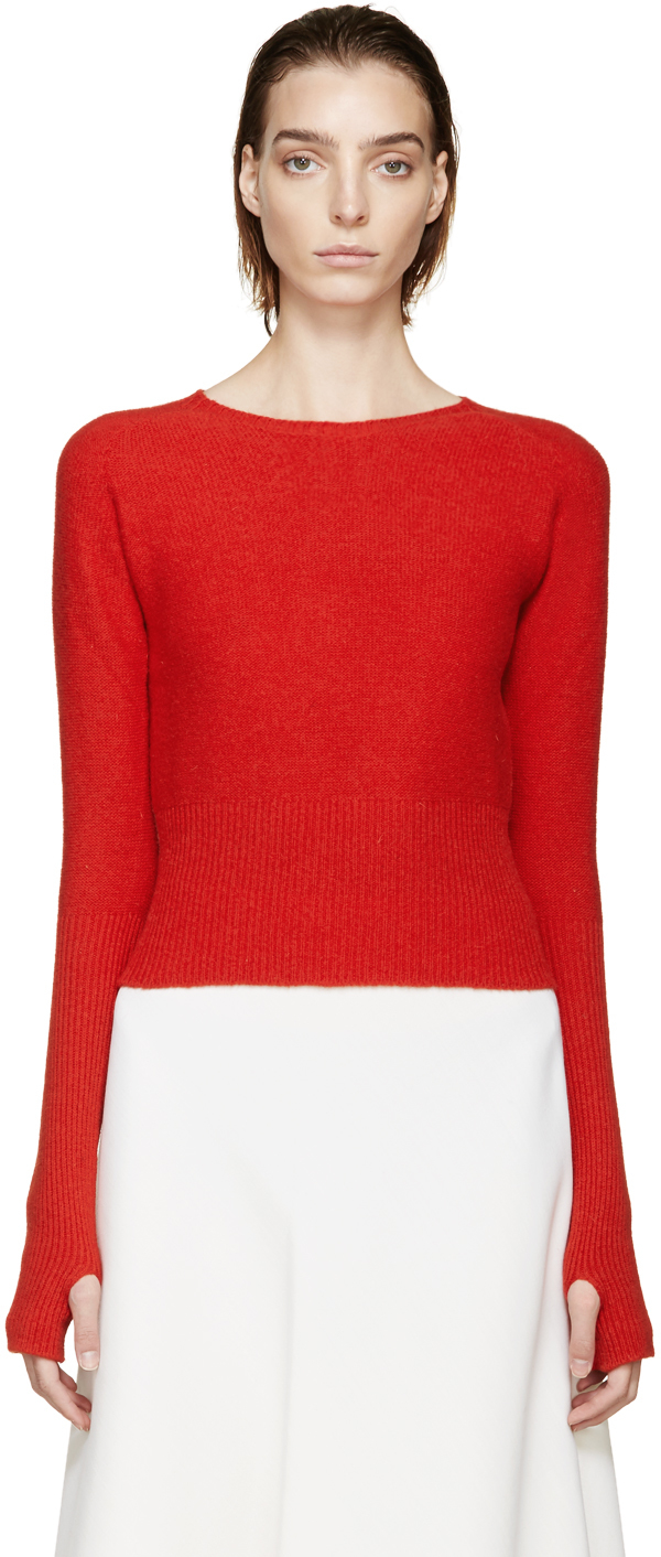 Lemaire Red Wool Knit Sweater in Red | Lyst