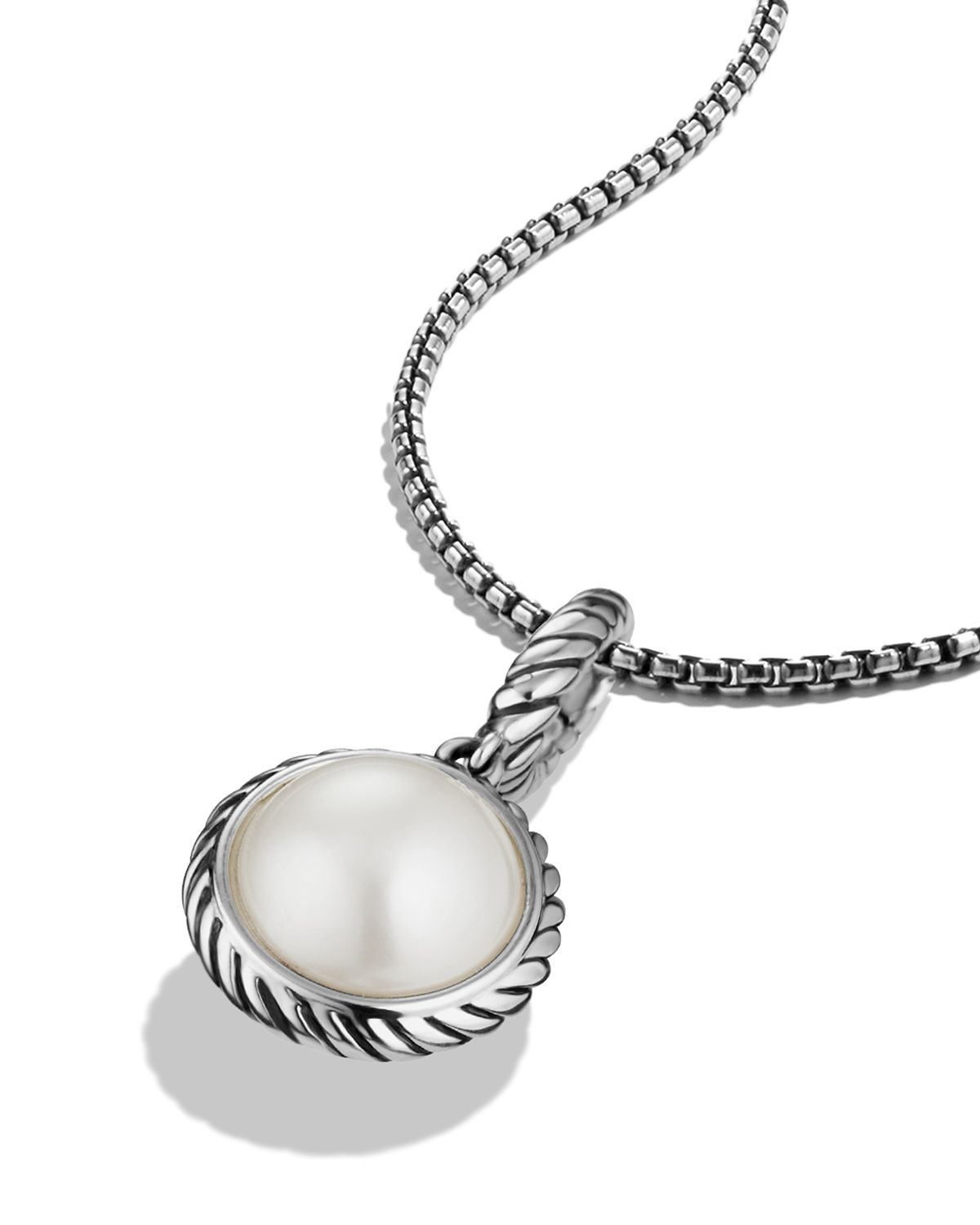 David Yurman Cable Collectibles Pearl Charm In Metallic Lyst