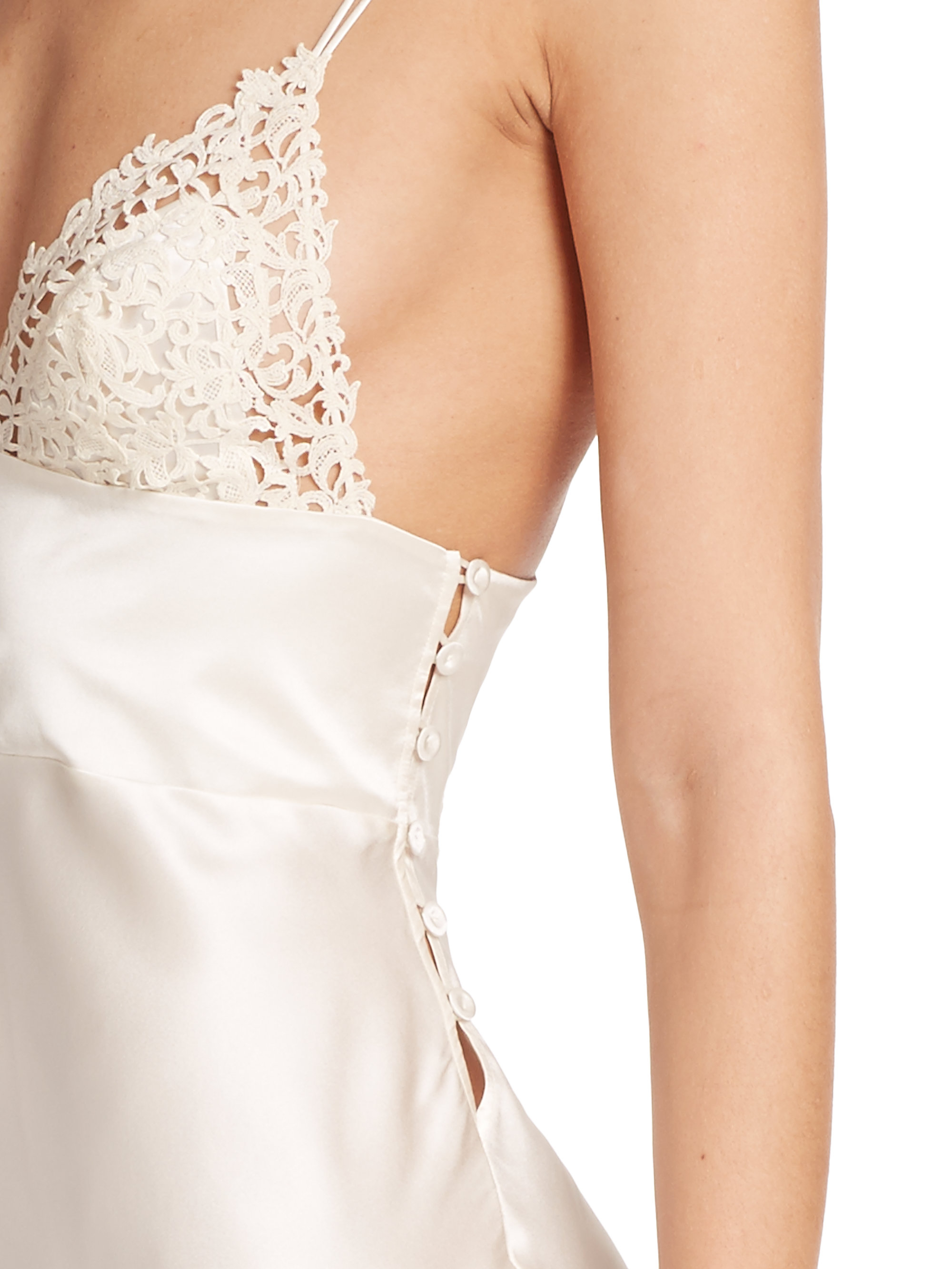 Lyst - La Perla Lace-trimmed Silk Nightgown in Natural