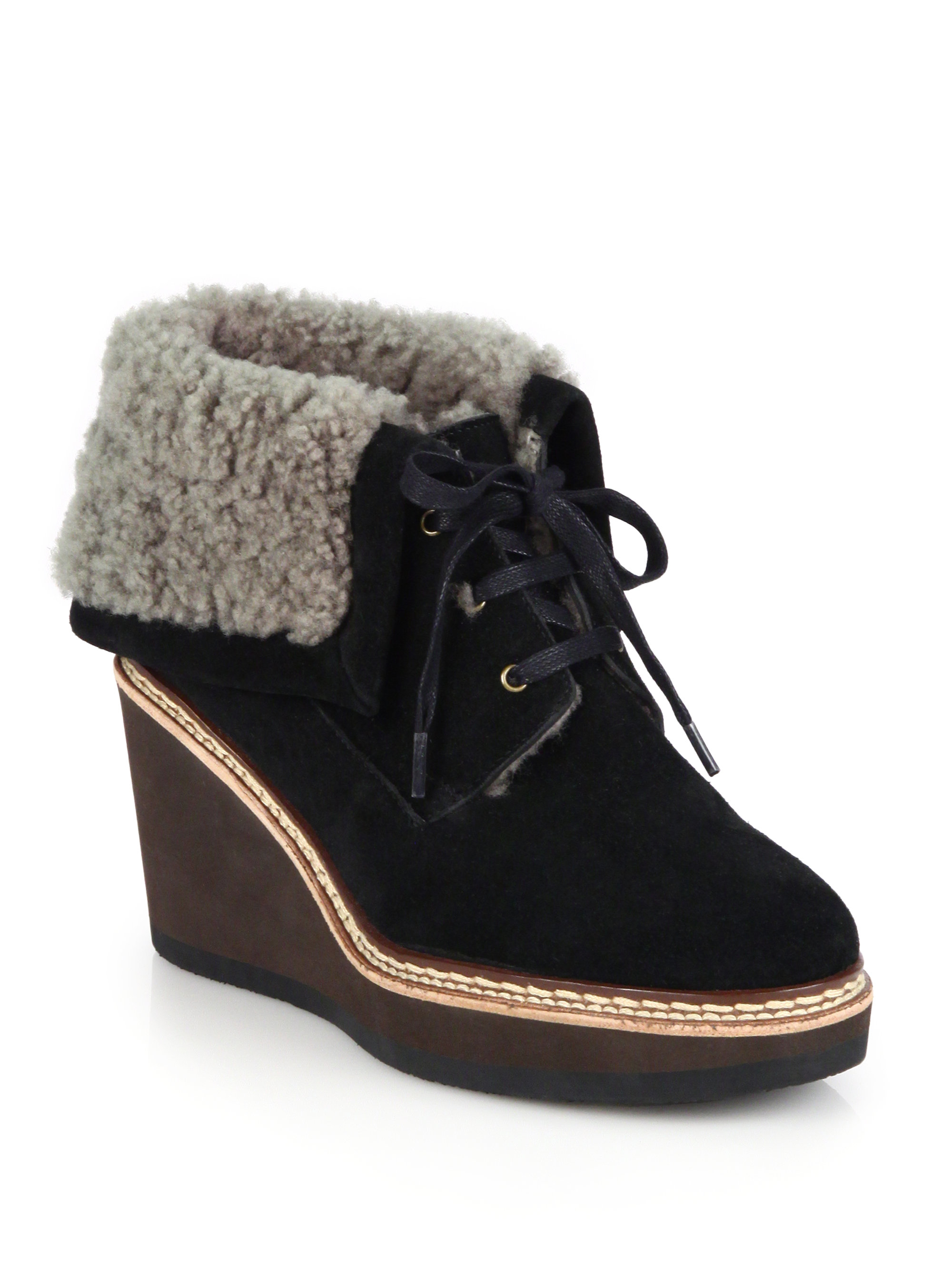 e4cb469a483 See By Chloé Black Suede & Shearling Lace-up Wedge Booties