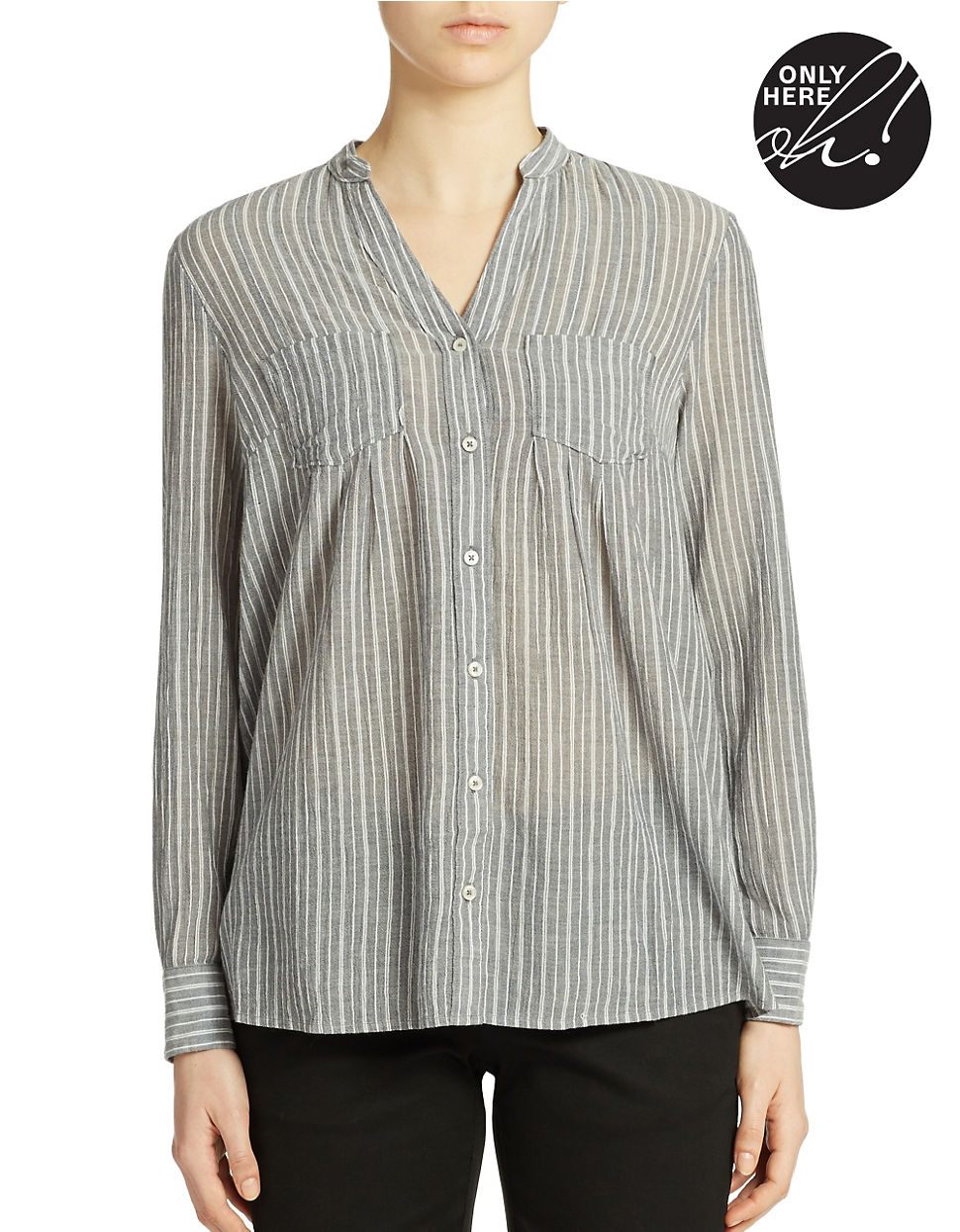 Lord Taylor Striped Cotton Shirt In Blue Lyst