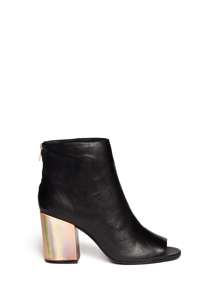 Lyst Ash Fancy Holographic Leather Heel Peep Toe Boots