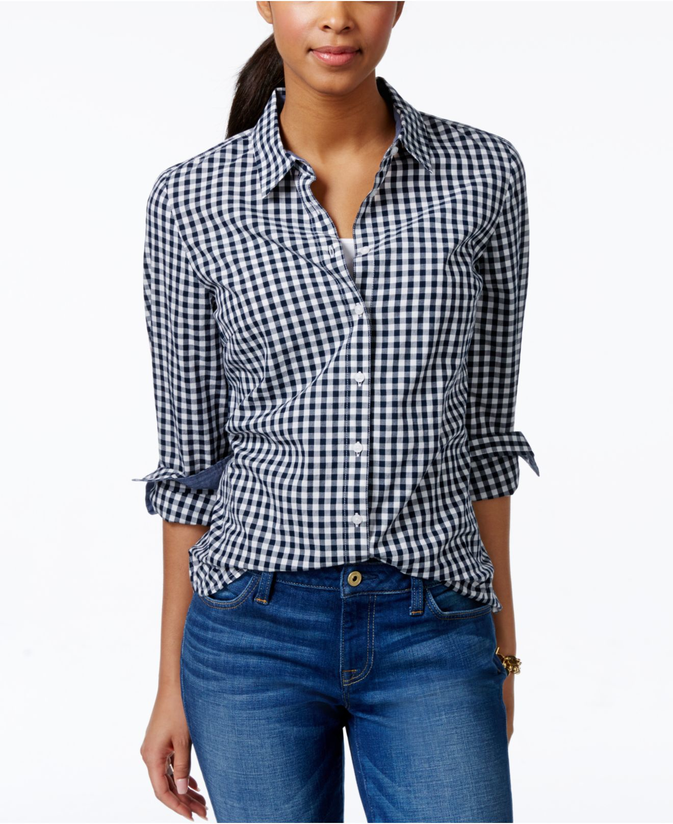 Tommy hilfiger Gingham Shirt in Blue | Lyst