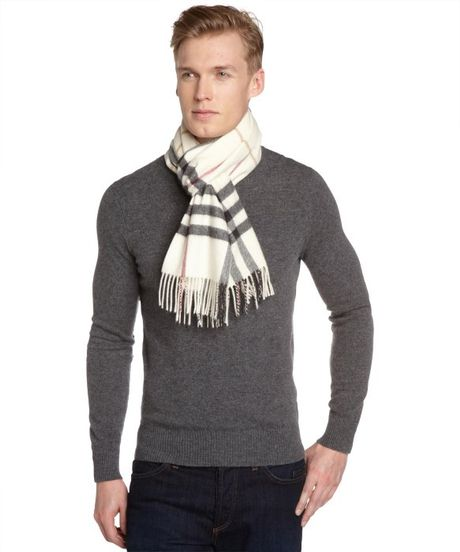 burberry ivory check scarf in white for