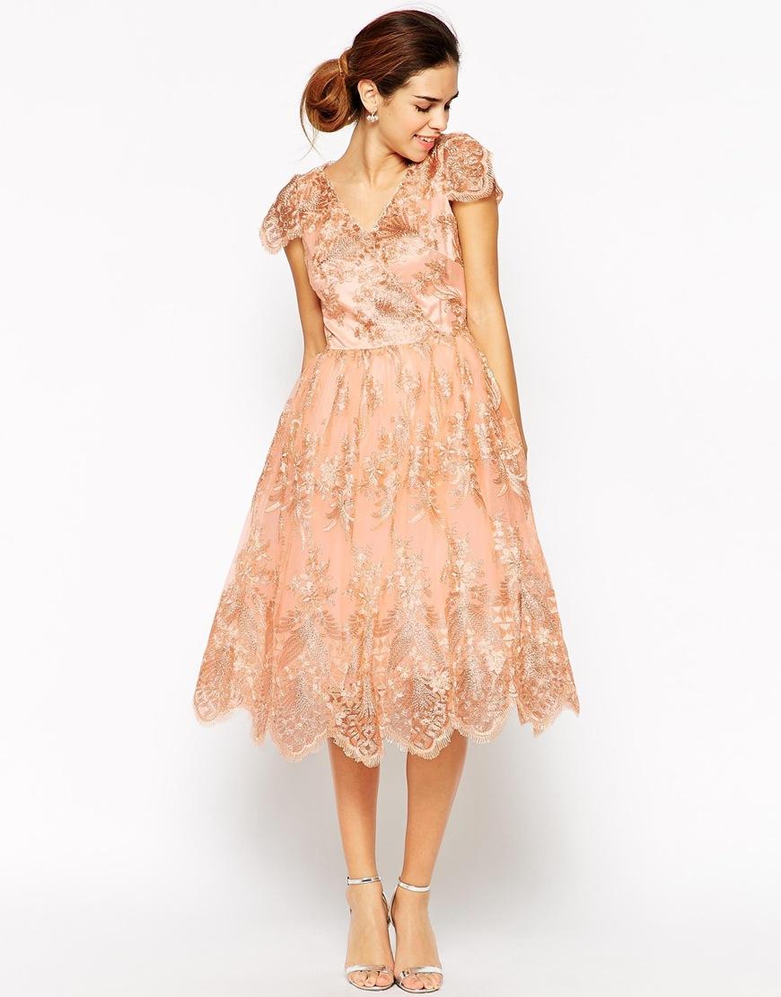 Wrap Front Full Midi Prom Dress In Premium Metallic Lace