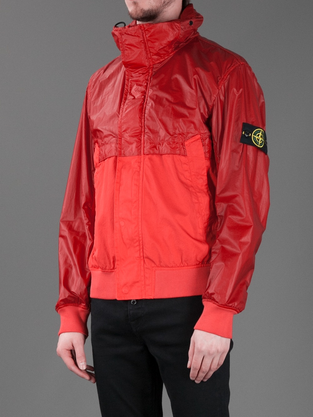 stone island zipup windbreaker jacket in red for men lyst. Black Bedroom Furniture Sets. Home Design Ideas