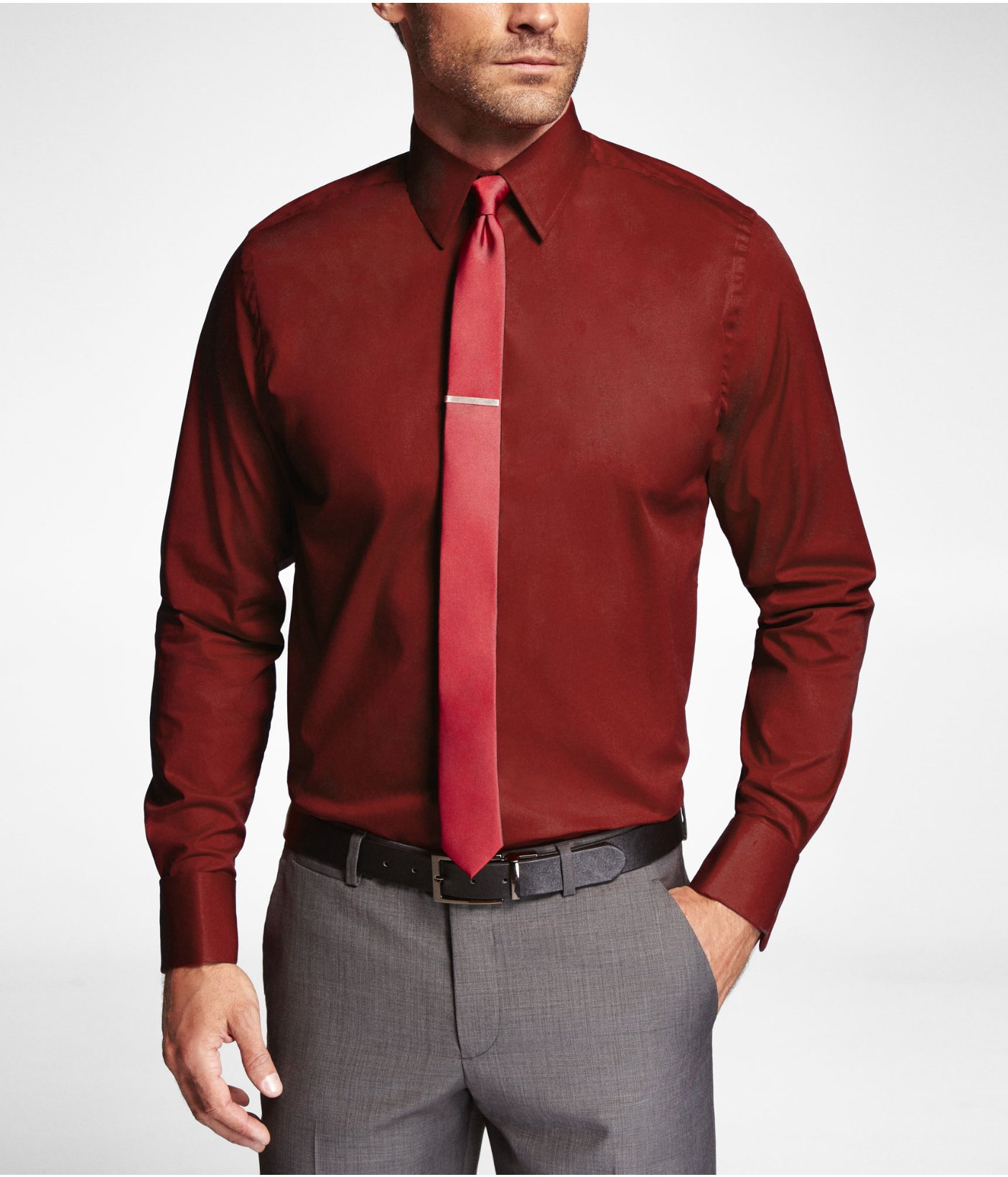 Express Modern Fit 1mx French Cuff Shirt In Red For Men Lyst