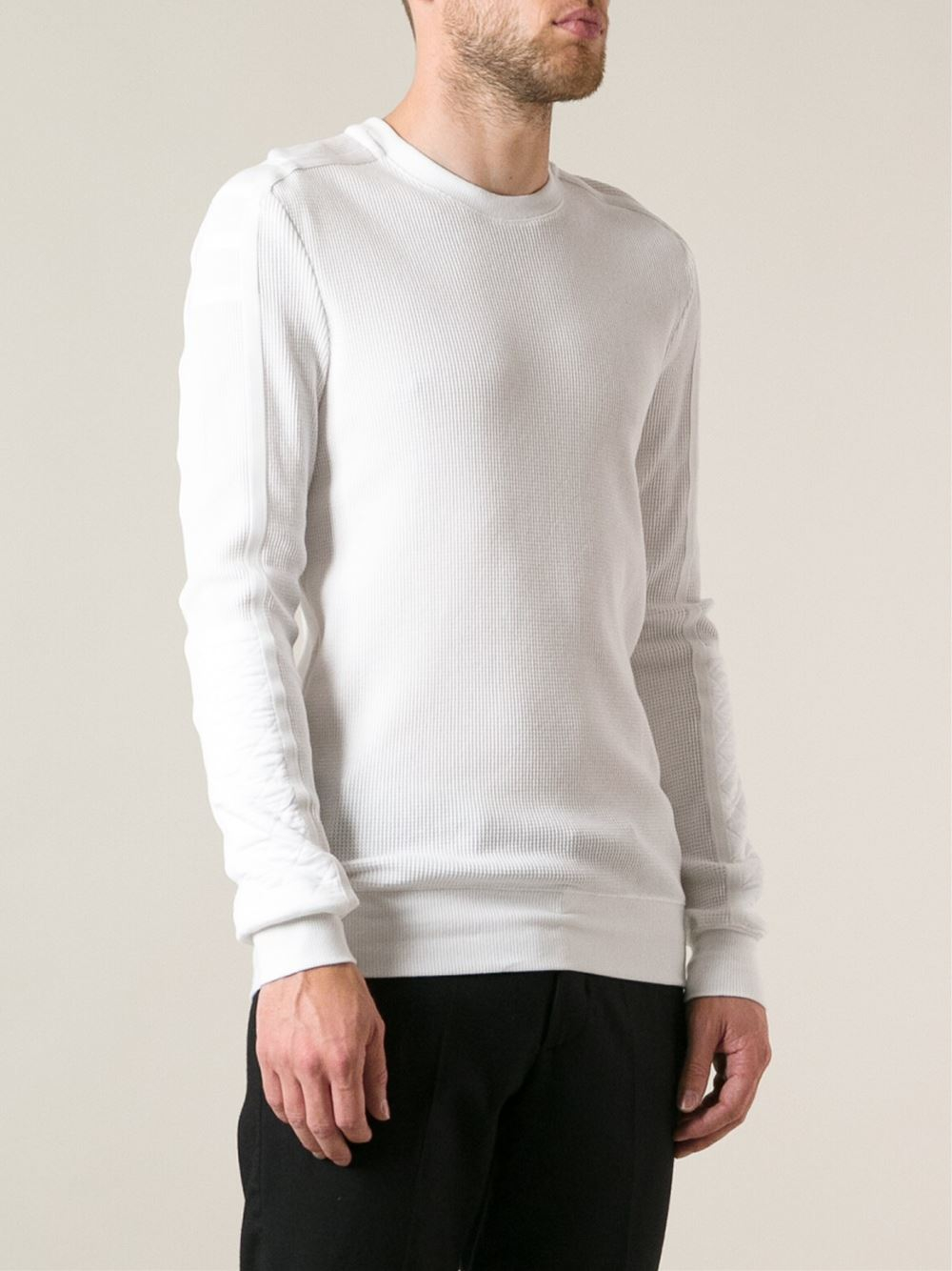 Helmut lang Waffle Weave Sweater in White for Men | Lyst