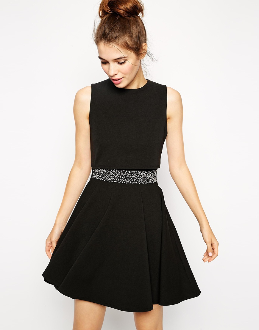 Asos Skater Dress With Embellished Waist And Crop Top In