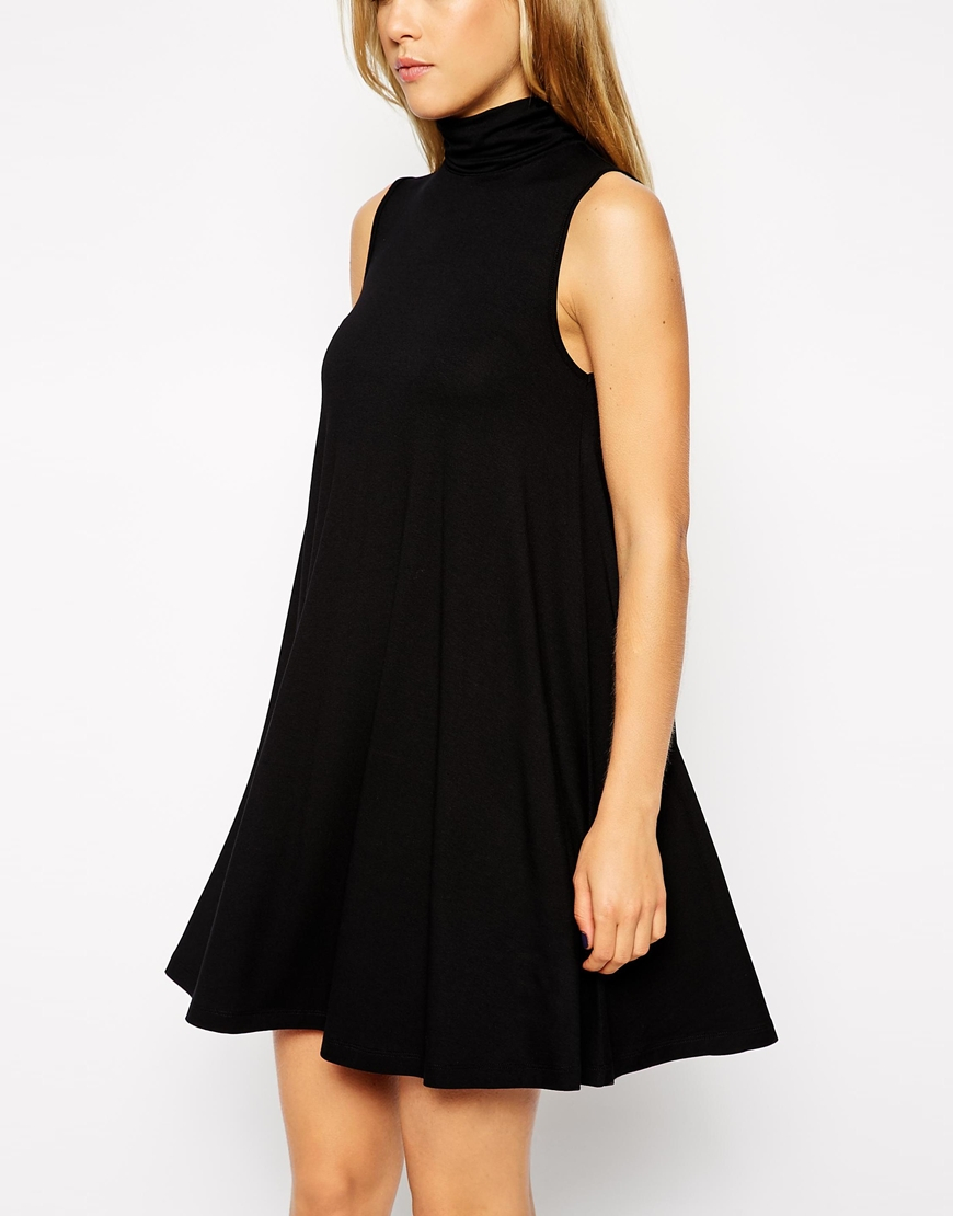 Asos Sleeveless Swing Dress With Turtleneck In Black Lyst