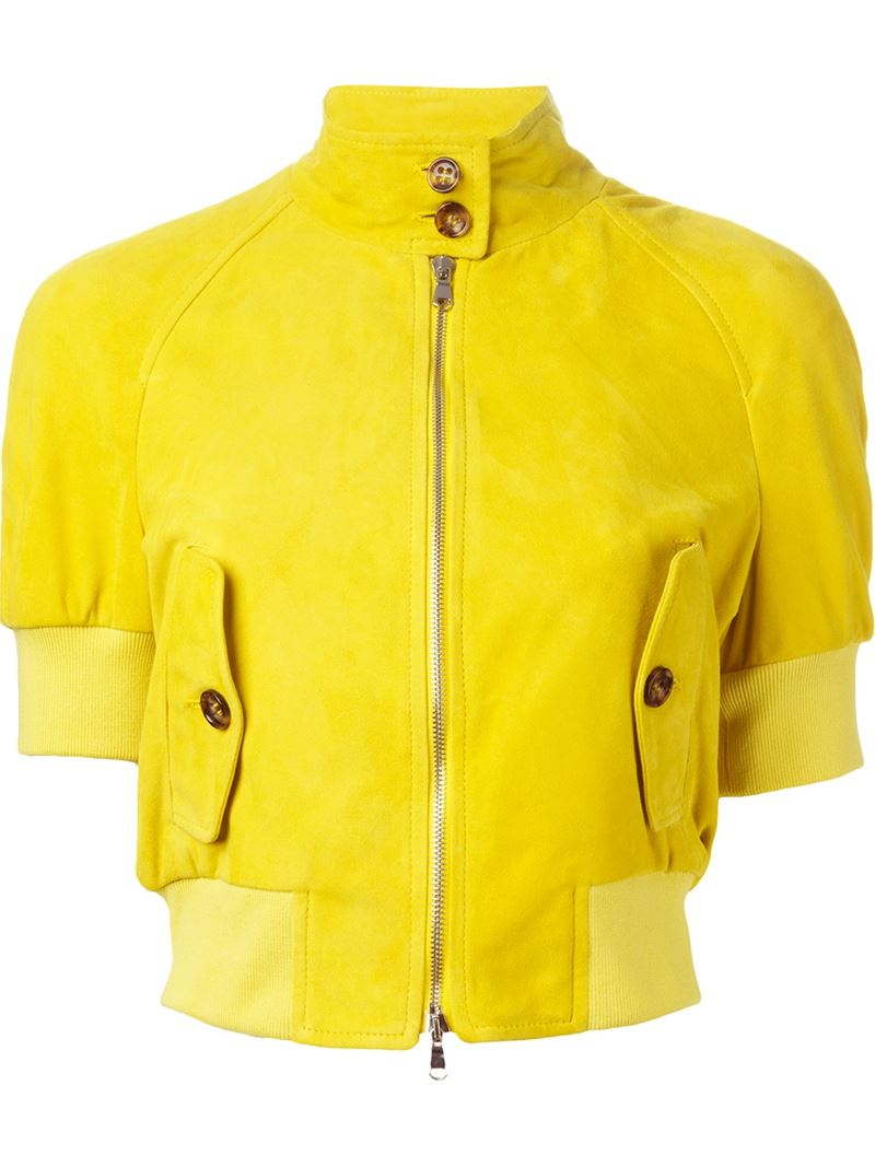 Red valentino Short Sleeve Cropped Jacket in Yellow | Lyst