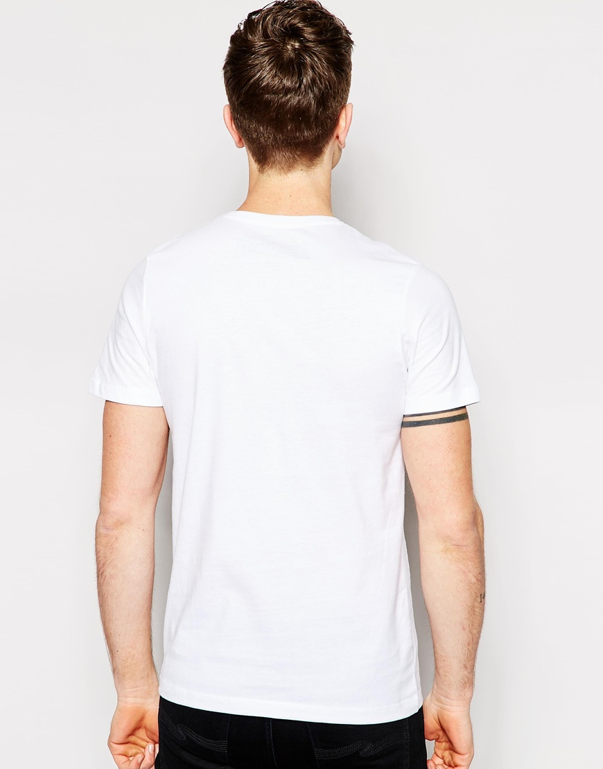 jack jones t shirt with chest print in white for men lyst. Black Bedroom Furniture Sets. Home Design Ideas