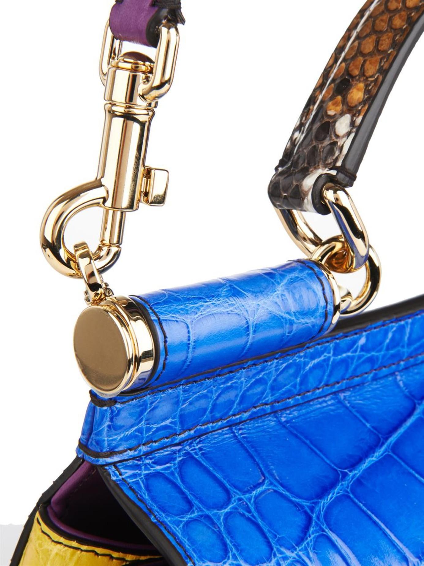 26bcc8f8c3 Lyst - Dolce   Gabbana Sicily Crocodile and Snake Cross-Body Bag in Blue
