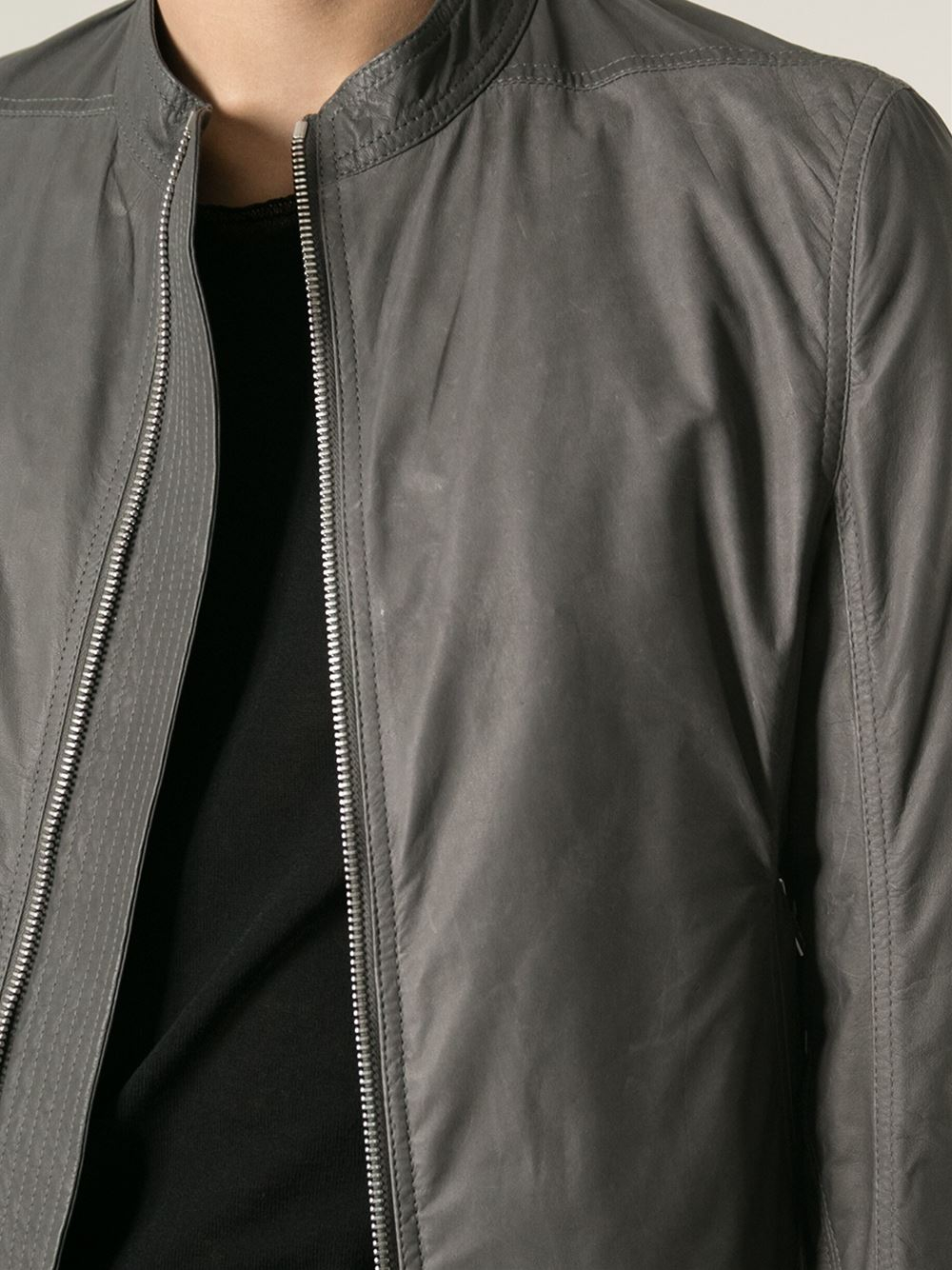 a57e1f34e Rick Owens Gray Kangaroo Leather Jacket for men
