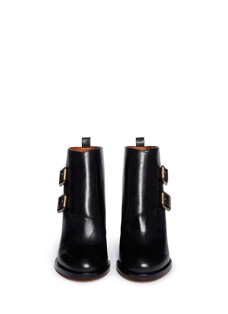 Marc By Marc Jacobs Leather Double Monk Strap Ankle Boots in Black