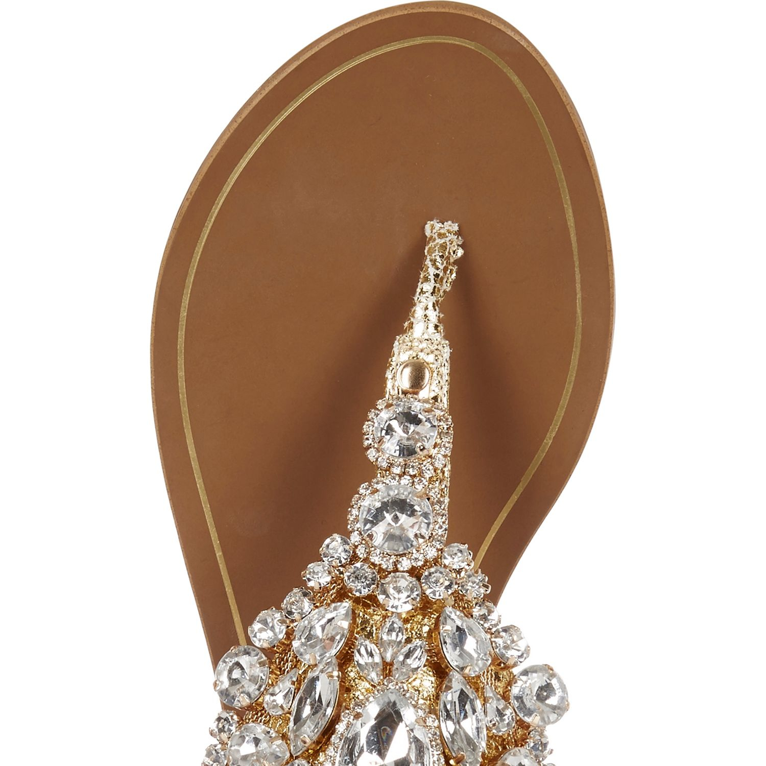 86a9aca22bf River Island Gold Metallic Embellished Sandals in Brown - Lyst