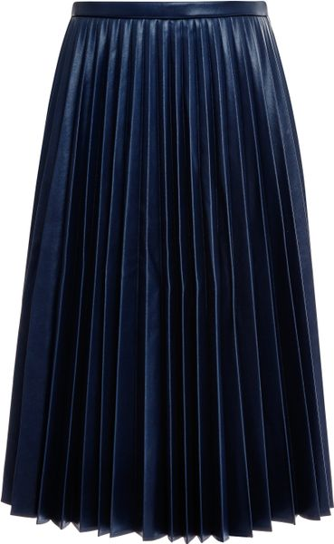 j w pleated faux leather skirt in blue navy lyst