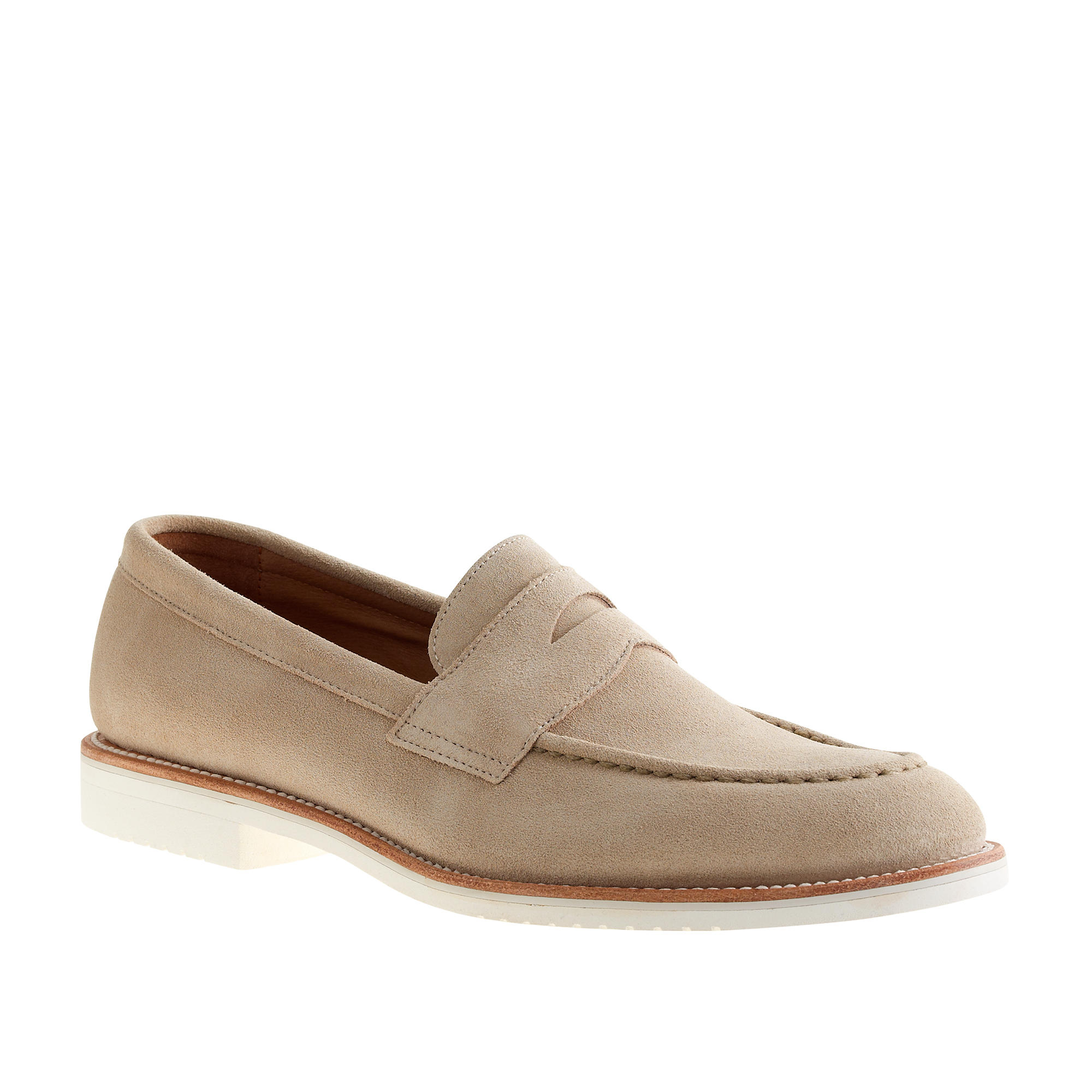 0151884a449 J.Crew Kenton Suede Penny Loafers With White Soles in Natural for ...