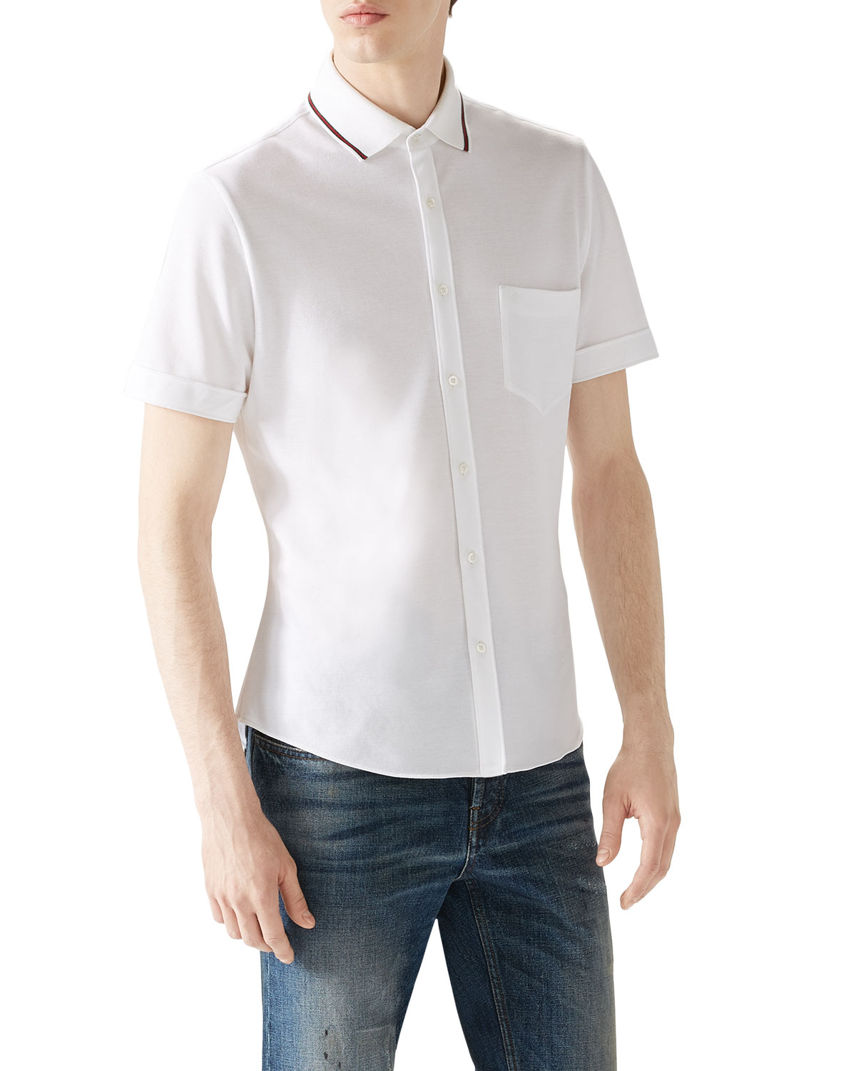 9737df55 Gucci White Tipped Short-sleeve Pique Full Button Down in White for ...