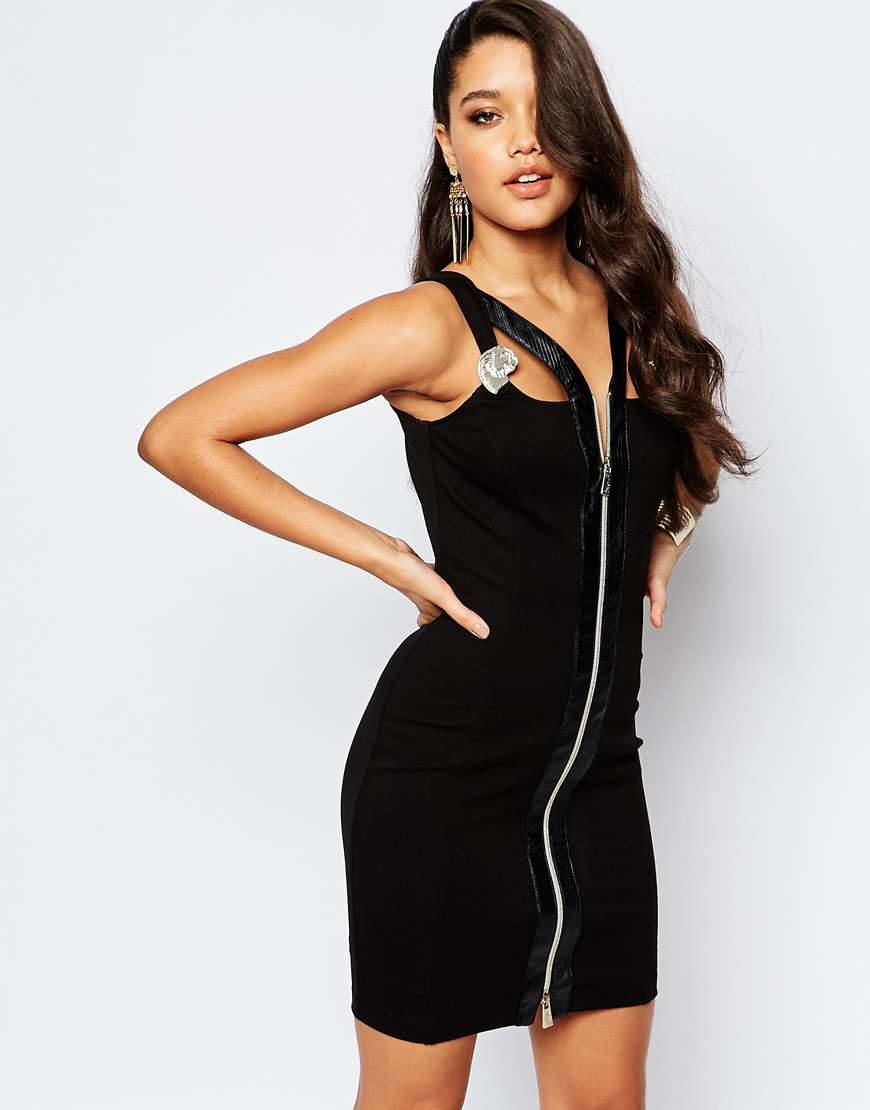 Bodycon dress with button front