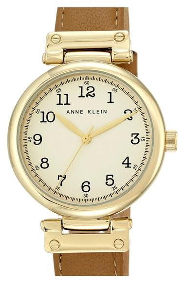 Anne klein leather strap watch in metallic lyst for Anne klein leather strap