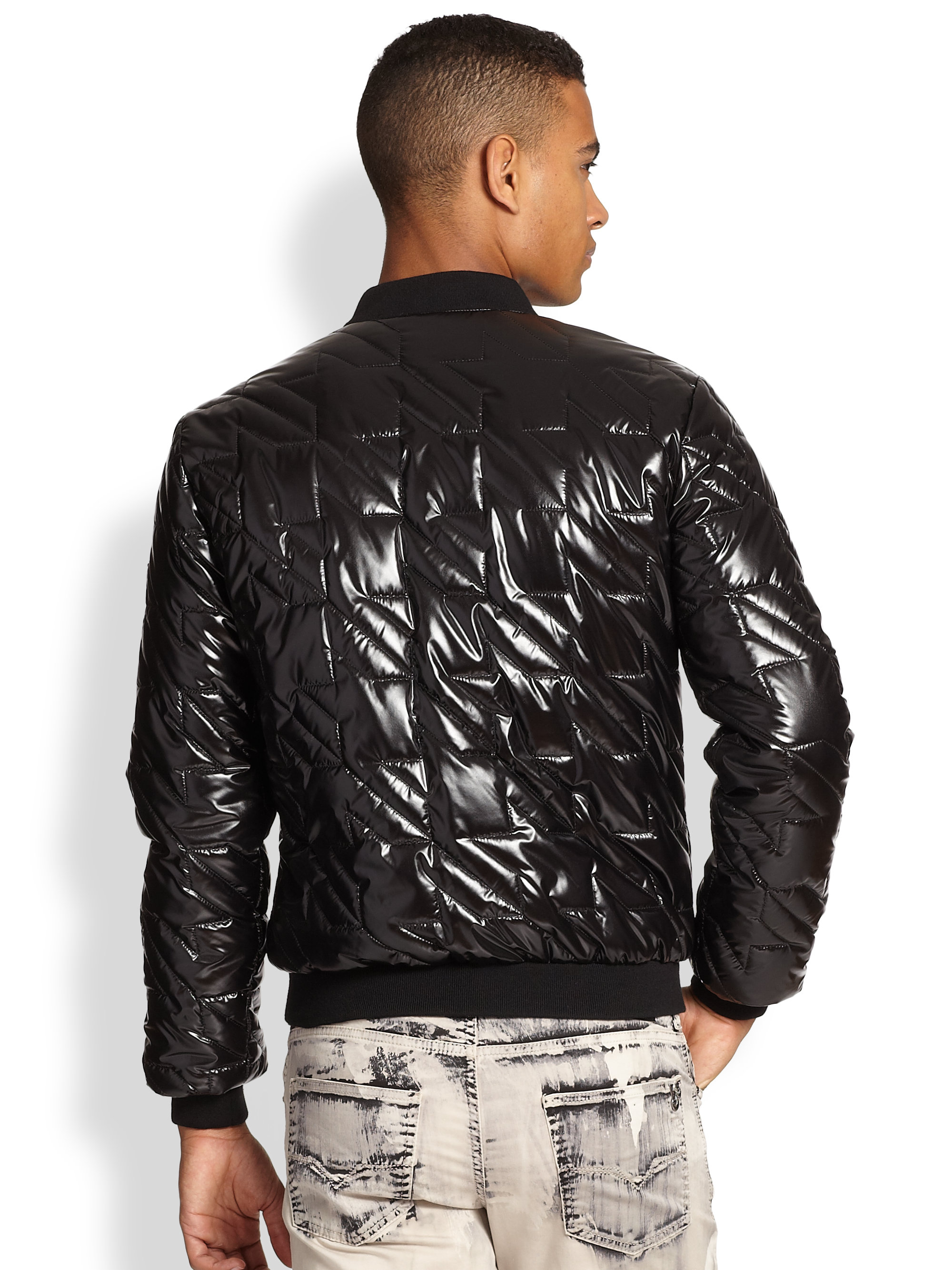 Versace Jeans Quilted Puffer Jacket In Black For Men Lyst