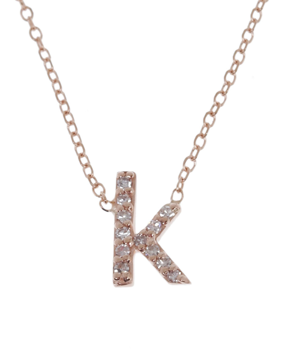kc designs rose gold diamond letter k necklace in metallic With rose gold letter k necklace