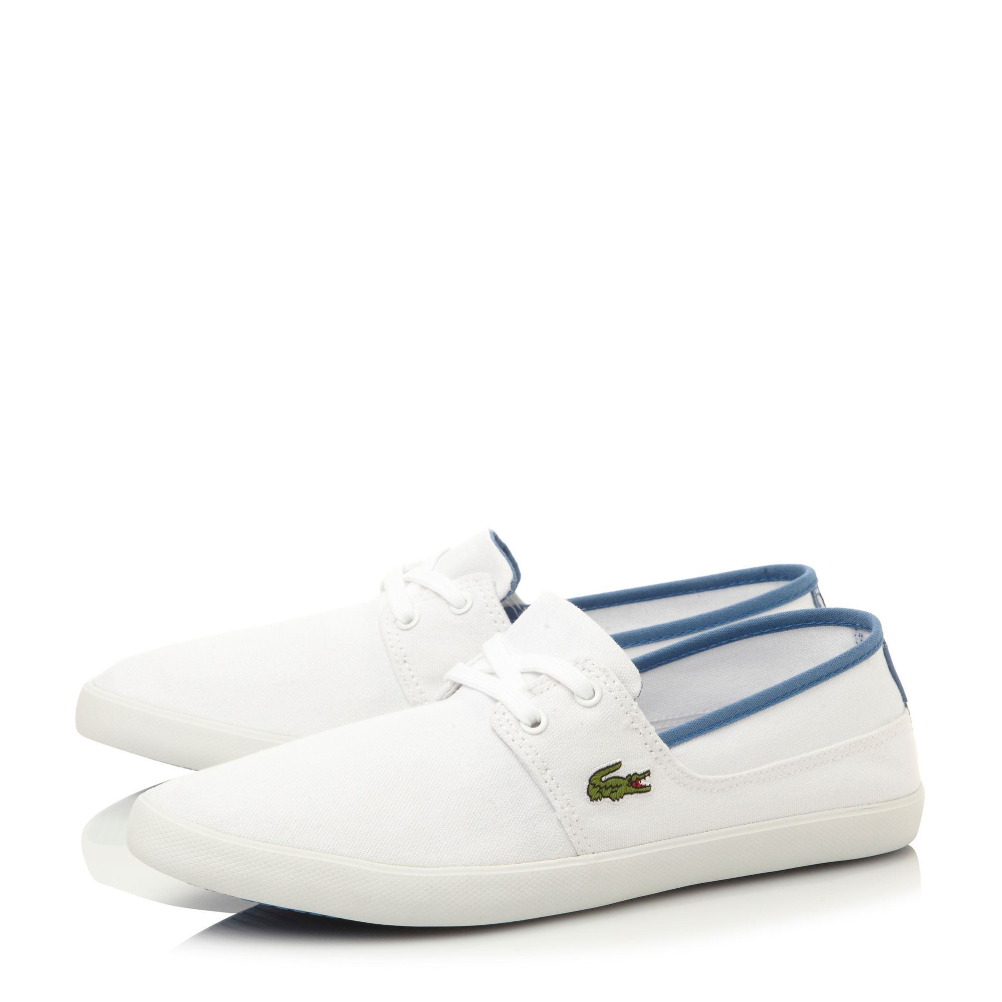 lacoste marice lace up boat style shoes in white for