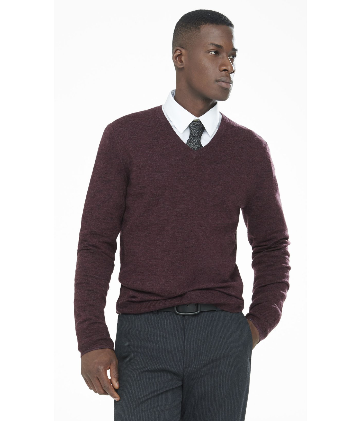Express Marled Merino Wool V-neck Sweater in Red for Men ...