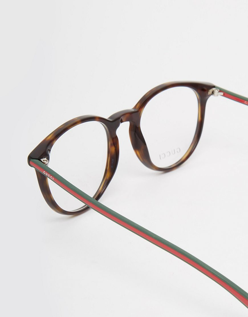 Round Gucci Sunglasses  gucci round clear lens glasses in tort in brown for men lyst