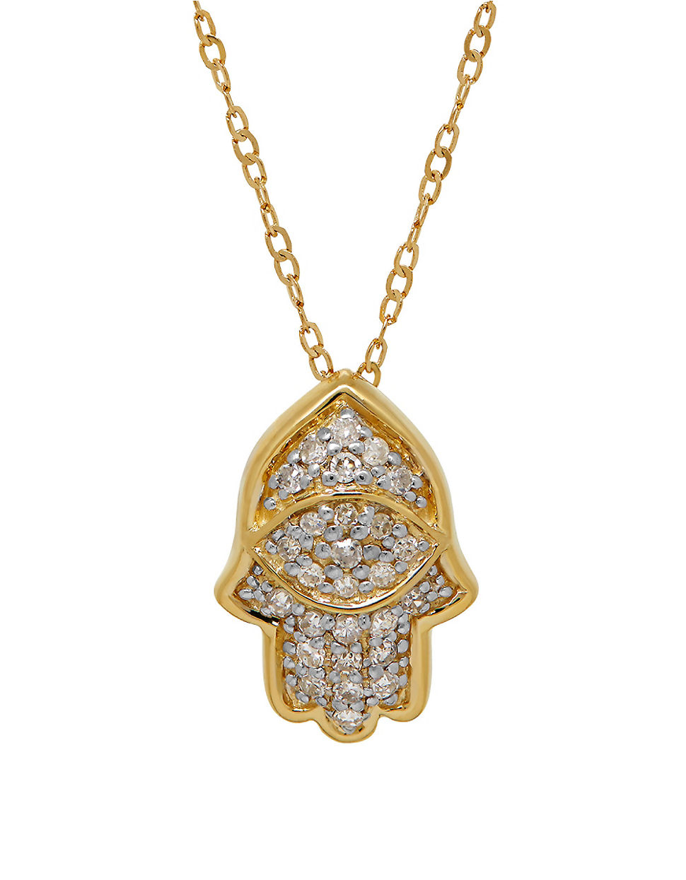 lord taylor diamond and 14k yellow gold hamsa pendant