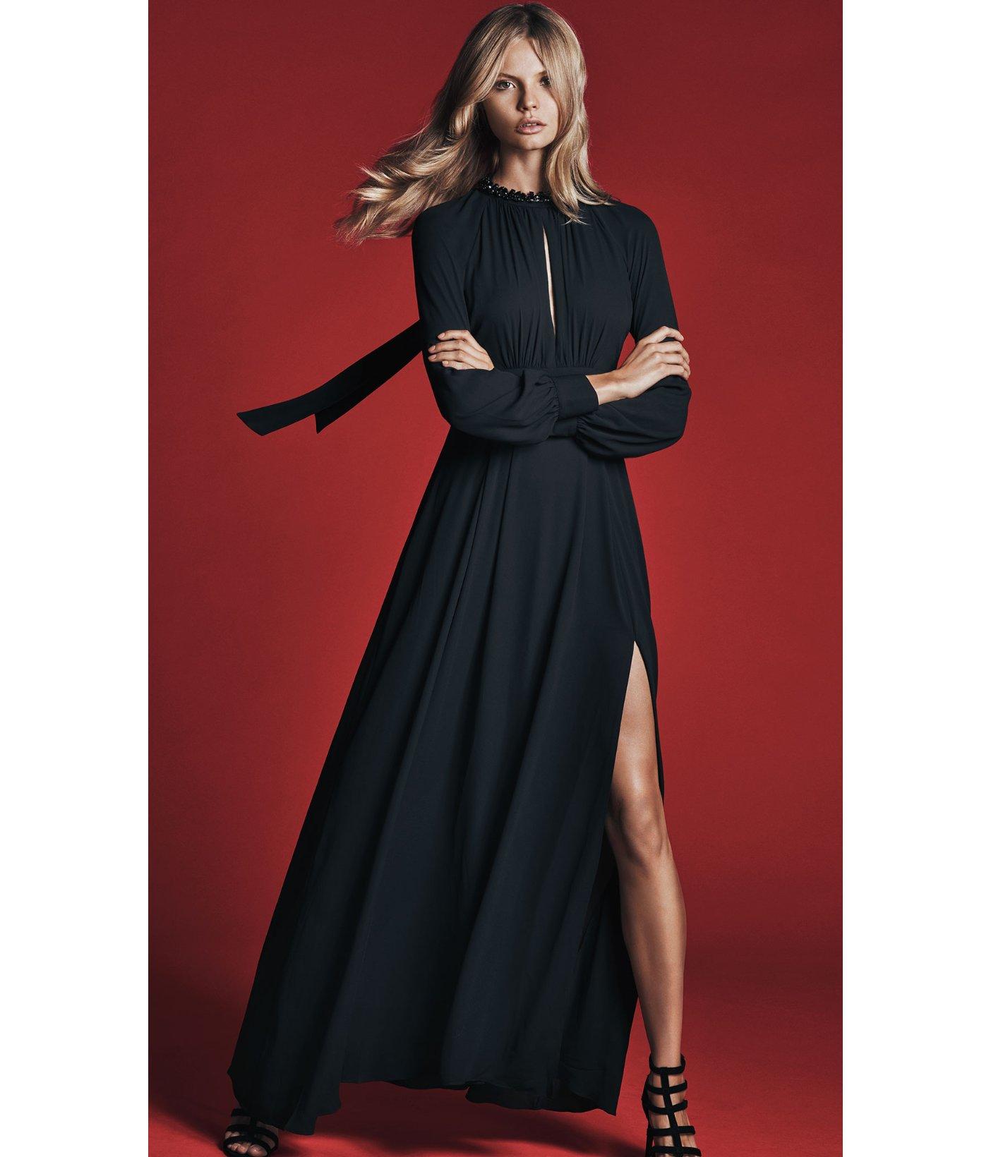 e33db8a273e Express Black Poet Sleeve Maxi Dress