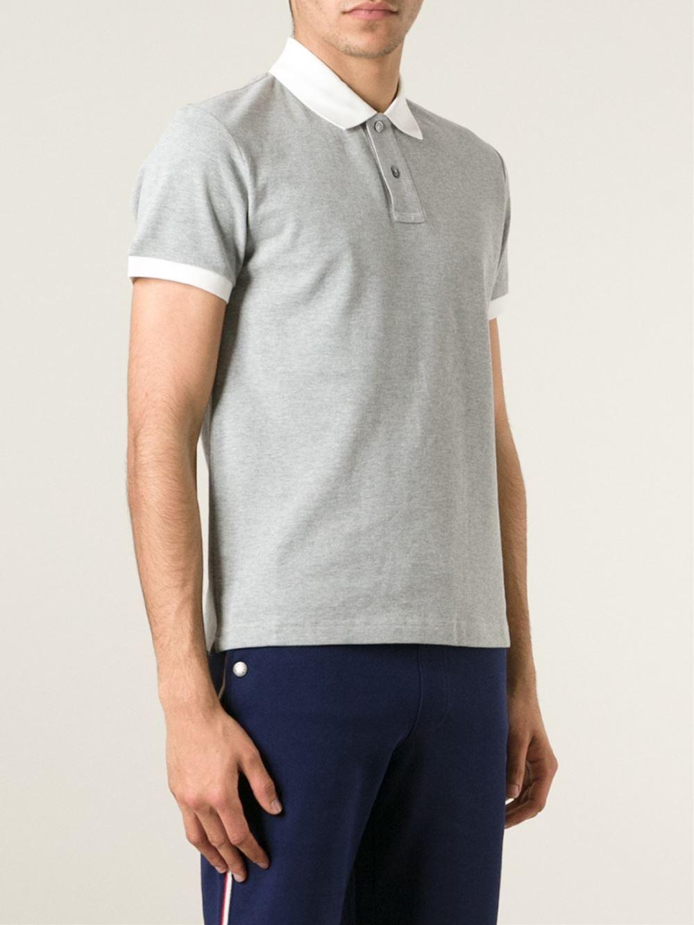 79bf8481a Moncler Gray Contrast Collar Polo Shirt for men