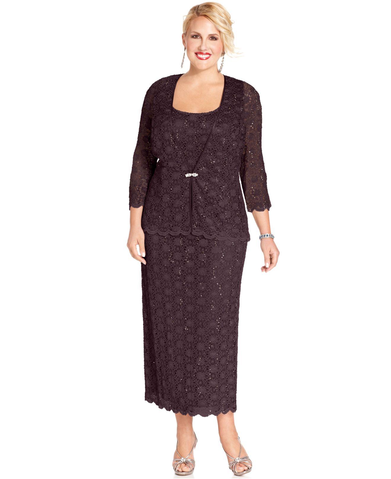R & M Richards Black Plus Size Dress And Jacket, Sleeveless Sequined Lace  Sheath