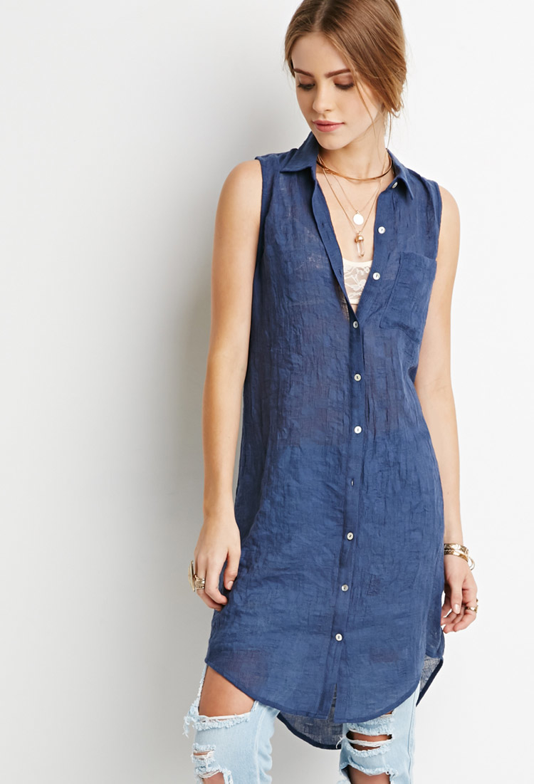 Forever 21 Check Textured Shirt Dress In Blue Navy Lyst