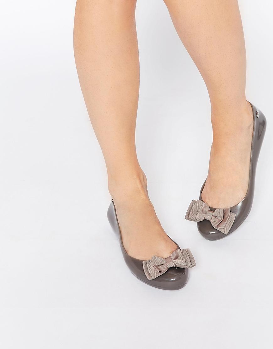 c4eec53835c Lyst - Mel by Melissa Pop Ribbon Flat Shoes in Gray