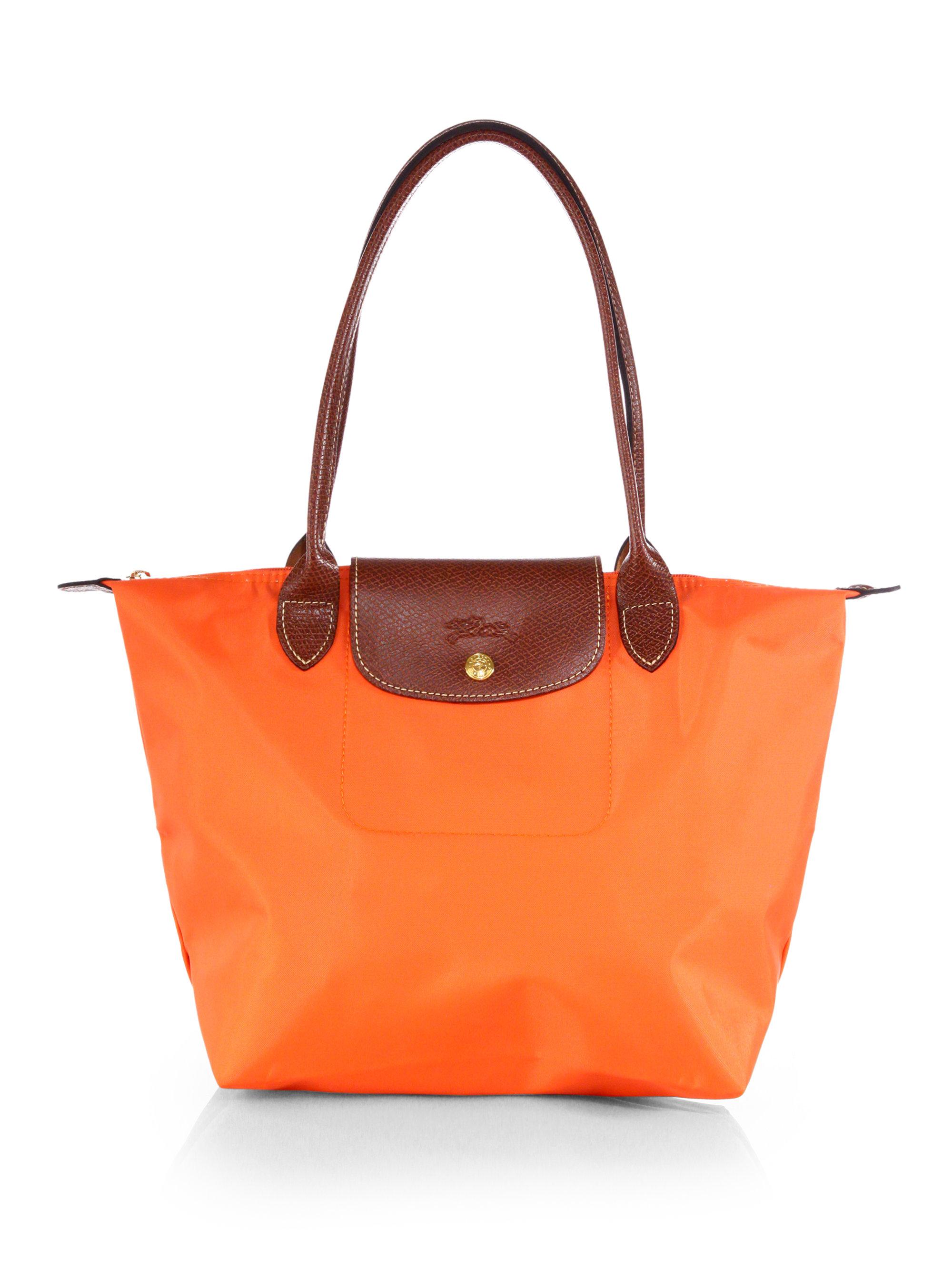 longchamp le pliage medium shoulder tote in orange lyst. Black Bedroom Furniture Sets. Home Design Ideas