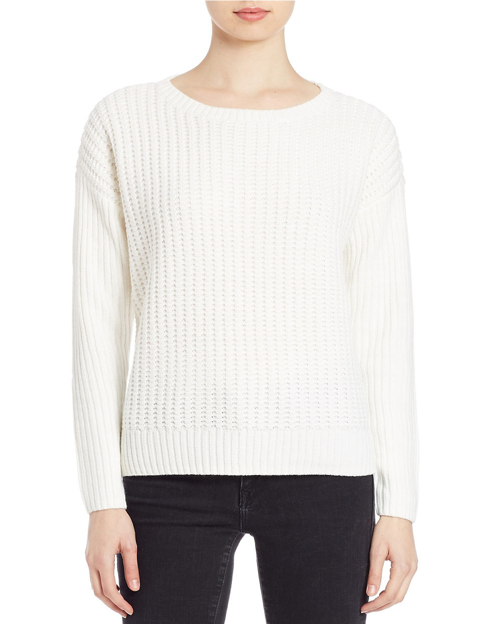 Lord Taylor Knit Crewneck Sweater In Beige Ivory