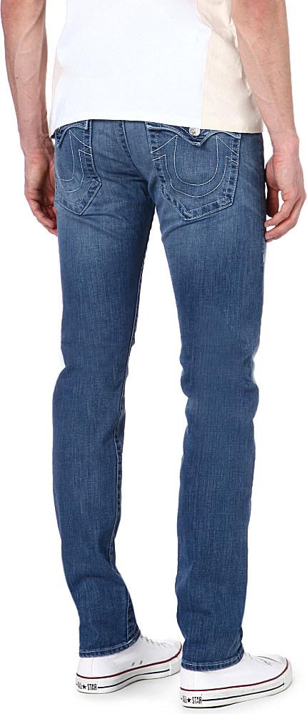 True Religion Zach Regularfit Skinny Jeans in Mid Wash (Blue) for Men