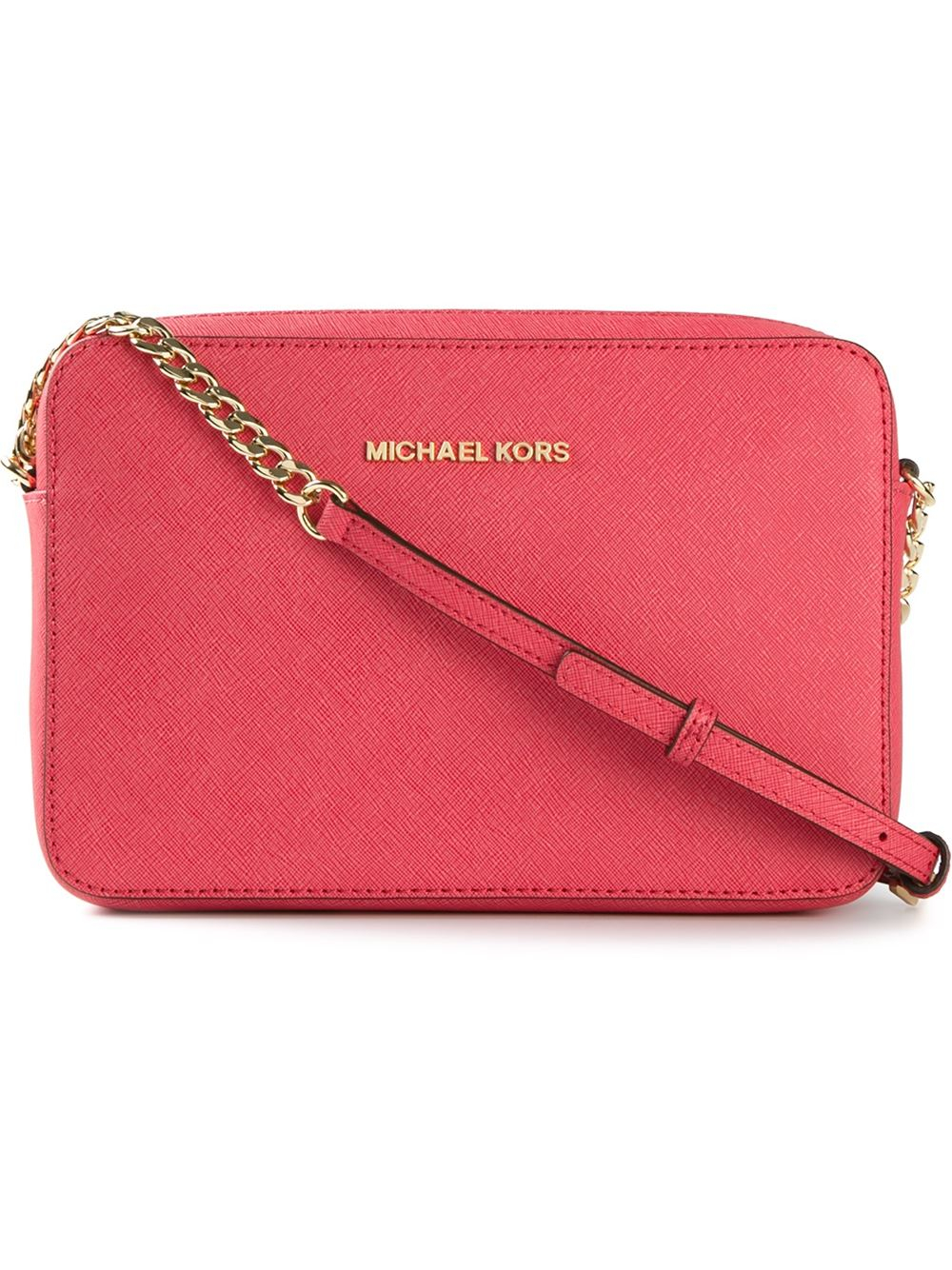 f228dbf834a0 ... coupon for michael michael kors jet set mini leather cross body bag in red  lyst 6882f