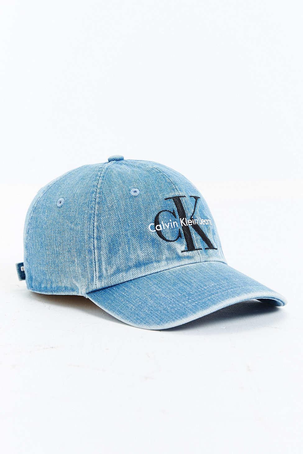 Calvin klein Baseball Denim Cap in Blue for Men | Lyst