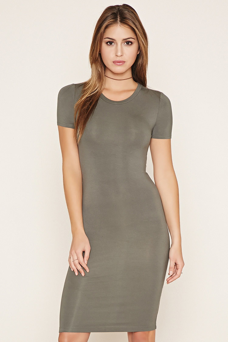 568e0aad69 Forever 21 Bodycon T-shirt Dress in Gray - Lyst